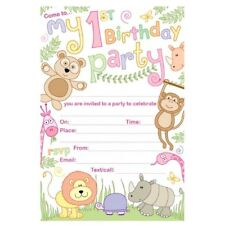 20 Cameos Girls 1st Birthday Zoo Animals Party Invitations With Envelopes