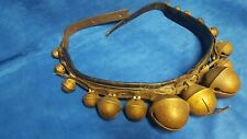"Vintage 54"" Brass leather strapped, numbered & embossed large sleigh bells"