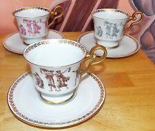 3 TEA CUPS W/ SAUCERS BAVARIA, GERMANY, E & R GOLDEN CROWN ROMAN FESTIVAL. EUC