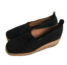 YVES SAINT LAURENT Black Wedge Espadrilles Size 7 Shoes Canvas YSL