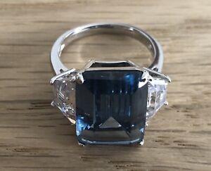 Michelle Mone Diamonique 12.7ct tw Emerald Cut Cocktail Ring Size P BNIB