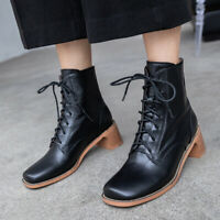 Womens Block Med Heel Ankle Boots Lace-up Solid Color Vintage Square Toe Shoes