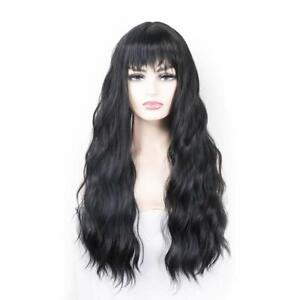 Long Wig With Bangs Women Long Fluffy Curly Wavy Wigs Synthetic Cosplay  (Black)