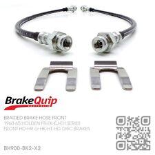 BRAIDED BRAKE HOSES FRONT [HOLDEN FB-EK with HD-HR-HK-HT-HG DISC BRAKES] BLACK
