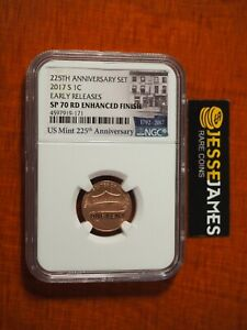 2017 S LINCOLN CENT NGC SP70 RD ENHANCED FINISH EARLY RELEASES LABEL