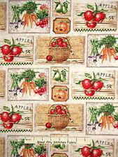Vegetable Fruit Fabric - Apple Carrot Pumpkin Farmers Market SPX #25613 - Yard