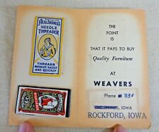 Vintage Weavers Sewing Card w/ Threader and Needles Rockford Iowa (Th1401)