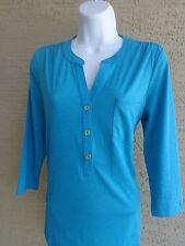 NWT Womens Rafaella slub textured  3/4 sleeve top/blouse $58. msrp aqua  Small