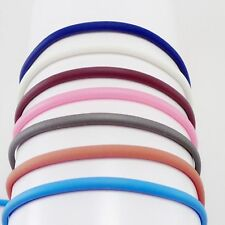3mm Rubber cord bracelet blue pink white brown tan grey sterling silver