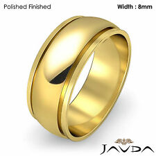 Men Plain Wedding Solid Band Dome Step Ring 8mm 18k Yellow Gold 9.6g 12-12.75