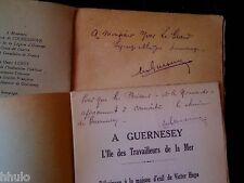 Victor Hugo Ile de Guernesey 1935 dédicace Signé 2 plaquettes RARE Guesnon