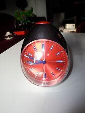vtg 60's Modern Blessing West Germany Orange Red Chrome Egg Alarm Clock / as-is