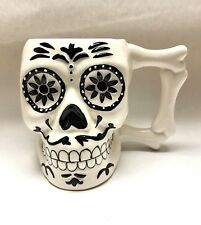 White and Black Ceramic 3D Sugar Skull Mug Day of the Dead Coffee Cup