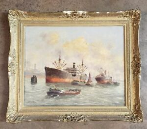 Original A. Broekman Oil Painting Busy Shipping Scene Frame Art (1874-1946)