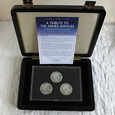 2011 le forze armate Guernsey prova in argento 3 X £ 5 CORONA Set-Completo