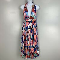 L'atiste by Amy Vintage Car Printed Halter Fit & Flare Dress Retro NWT Size M