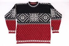 MEN'S DALE OF NORWAY NORWEGIAN 100% PURE WOOL SWEATER BLUE/RED/WHITE SIZE SMALL