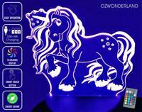 PONY UNICORN 3D Illusion Night Light 16 Colour REMOTE CONTROL Battery & USB LAMP