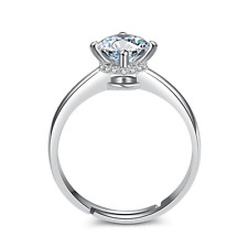 925 Sterling Silver Micro-inlay CZ Engagement Wedding Solitaire Adjustable Ring