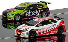 C3694A Scalextric Slot Car BTCC Champions BMW 125 Series 1 & Honda Civic - Gift