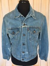 Vintage 70s LEVIS Big E Denim Jean Coat Jacket Distressed USA Mens Size 44