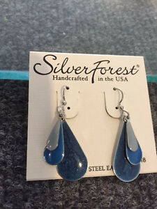 NWT Silver Forest Earring Shadesof Blue Surgical Steel Earwire USA Made