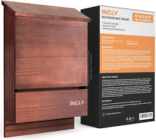"""Incly Bat House for Outdoors 15""""x9.2""""x3.2 34; Shelter Box kit Double Chamber Dark N"""