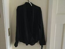 APT 9 ladies black long sleeve drape front blouse size L BNWT