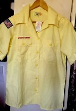 vtg. BSA Boy Scouts of America Yellow Color Shirt. Size Large 14-16 Made In USA.