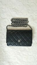 Chanel Black Lambskin Flap Wallet On Chain WOC Silver Hardware