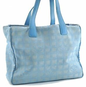 Authentic CHANEL New Travel Line Shoulder Tote Bag Nylon Leather Blue 0406A
