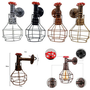 Industrial Sconce Loft Rustic Wall Light Vintage Porch Aisle Lamp Water Pipe UK