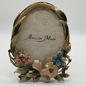 Ashleigh Manor Enameled Jeweled Flowers Oval Picture Frame New