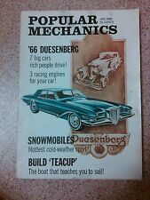 Old vintage 1966 Popular Mechanics Magazine '66 Duesenberg, snowmobiles, sailing