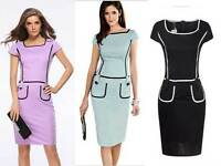 Women Business Pencil Dress Pocket Knee Sheath Celeb Work 6-16 Short Sleeve Midi
