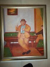 "Fernando Botero Styl ""Der PoolSpieler"" Öl auf Leinwand 50×60cm Ölgemälde Gemälde"