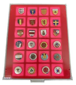 Set Of 24x Football World Cup Italy 1990 Badges-All Competing Teams Within Case