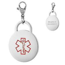 PEANUT ALLERGY Stainless Steel Medical Alert Round Shape Charm w/ Lobster Clasp