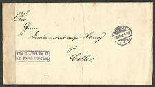 GERMANY. 1906. HANNOVER. RAILWAY ADMINISTRATION FOLDED COVER. CELLE ARRIVAL ON R