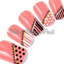 Nail Art Water Decals Transfers Stickers Polka Dots Spots Stripes Dotty SL236