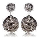 Doppel Perlenohrringe Perlen Ohrringe Kugel große & kleine Perle silber gold...
