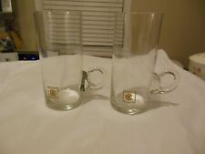 Bloomingdales Crystal Irish Coffee Toddy Glasses Blown Glass Handle Collins