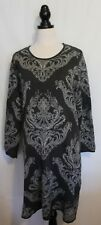 BLUE ILLUSION ~ Grey Charcoal Florentine Floral Cotton Knit Fitted Dress XL 16