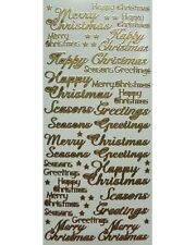 CHRISTMAS SENTIMENTS Peel Off Stickers Greetings Happy Merry Stars Gold Silver