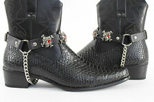 Biker Western Boots Bracelets Chain Black Leather 2 Straps Silver Skull Skeleton