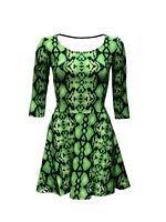 Women's Green Snake Skin Print 3/4 Sleeve Skater Dress Fashion Rockabilly