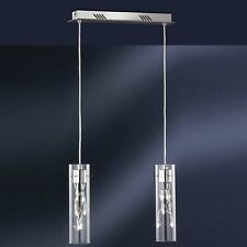 WOFI lámpara colgante MICHIGAN 12-flg Cromo Vidrio CILINDRO MESA de comedor