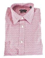 Sean John Mens Dress Shirt 16 34/35 New Red Long Sleeves Tailored Fit Geometric