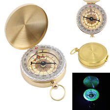 Brass Pocket Watch Style Keychain Ring Outdoor Camping Hiking Compass Navigation