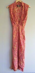 Reformation Size M Pink Mustard Floral Pattern Midi Wrap Dress Formal Wedding
